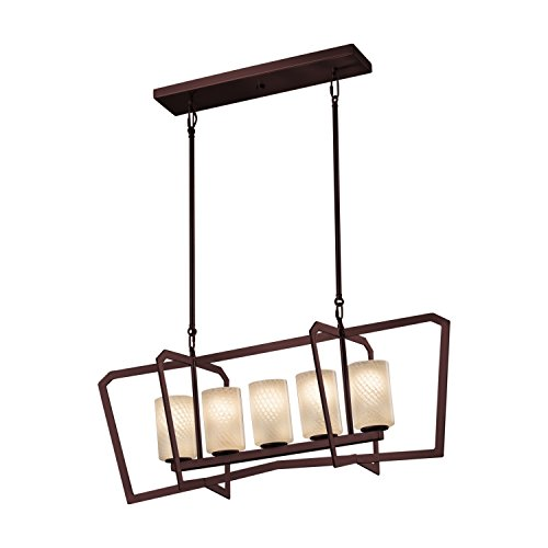 Fusion - Aria 5-Light Island Intersecting Chandelier - Cylinder with Flat Rim Artisan Glass Shade in Weave - Dark Bronze Finish (Chandelier Aria 10 Light)