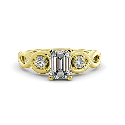 (Emerald Moissanite Charles & Colvard Forever One & Round Cut Diamond 3 Stone Twist band Infinity Engagement Ring Your choice of 14k White Rose or Yellow Gold 1.31 tcw)