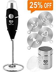 Milk Frother Coffee Art Set - Handheld Electric Portable Drink Mixer Battery Operated Foam Maker Wand - Cappuccino Hot Chocolate Latte Frappe - Stainless Steel Stand - Cocoa Shaker - Art Stencils