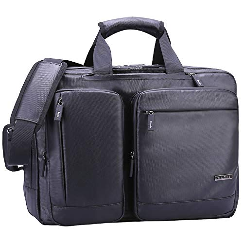 Ronts Convertible Briefcase Backpack Multifunction Briefcase Messenger Bag 17.3 Inch Laptop Bag for Men Women Waterproof Material and Water-Resistant Zippers Convertible Travel Shoulder Daypack Black ()