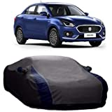 DRIZE Swift Dzire Car Covers Waterproof with Triple Stitched Fully Elastic Ultra Surface Body Protection (Vshape Grey with Mirror Pockets)