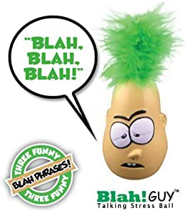Blah Guy Talking Stress Squeeze Ball, Features Funny Blah Sayings