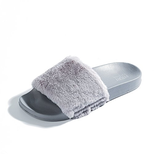 Women Slides Slippers,Faux Fur Slide Slip On Flat Sandals with Arch Support Girls Indoor Outdoor Shoes