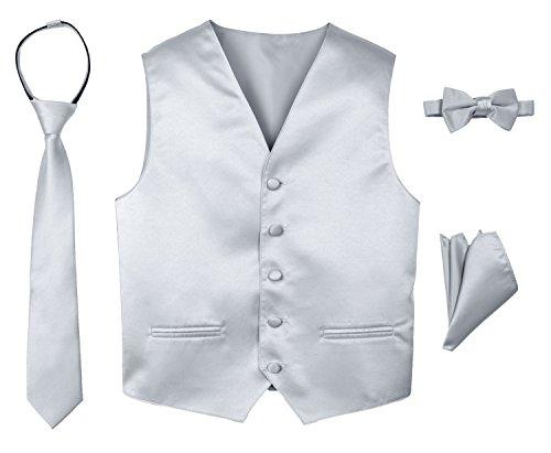 (Spring Notion Boys' 4-Piece Satin Tuxedo Vest Set 12 Silver)