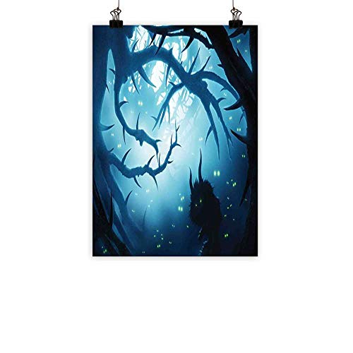 BarronTextile Mystic Decor Light Luxury American Oil paintingAnimal with Burning Eyes in Dark Forest at Night Horror Halloween Illustration Home and everythingNavy White 16