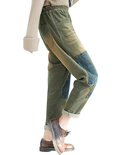 lastique 1 Taille Femmes Style Youlee Sarouel Vert BPEFXnq