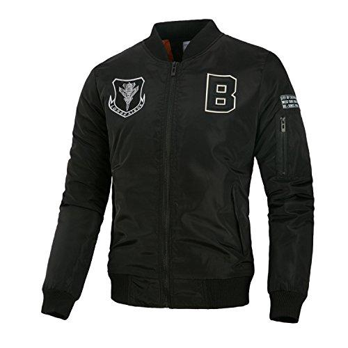 un código otoño de gruesa chaqueta hombre personalizadas L casual europeo cartas invierno chaqueta e en pegados Hombres Negro de Serie 16FnzZ1W