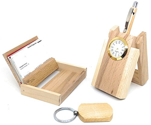 Crownlit Personalised Wooden Pen, Pen Stand, Keychain and Card Holder Set with your Name Engraved