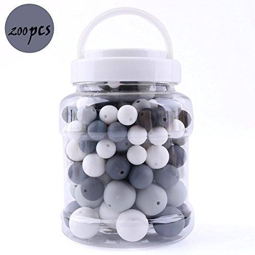 Silicone Teething Beads Round Chewable (12-20mm) 200pcs DIY Necklace Bracelet Baby Pacifier Chain Jewelry Components Bottle BPA Free-Black and White