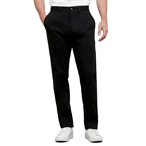 Kenneth Cole Reaction Men's Solid Stretch Eco Chino Flat Front Slim Fit Casual Pant, Black, 31x30 (Pants Kenneth Cole Mens)