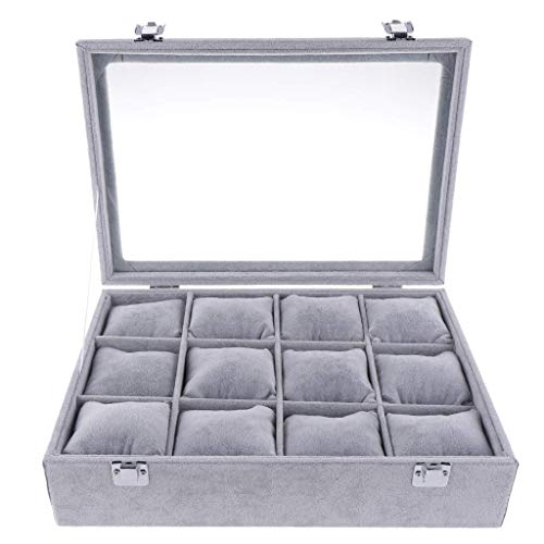 KODORIA 12 Slots Jewelry Box Watch Box Watch Organizer Jewelry Display Case Watch Case Bracelet Tray with Lib