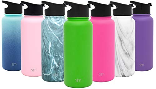 Simple Modern 14 Ounce Summit Kids Water Bottle - Travel Mug Stainless Steel Tumbler Flask +2 Lids - Wide Mouth Double Wall Vacuum Insulated Green Leakproof -Candy Apple