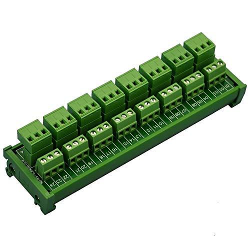 Isali Terminal Blocks - Electronics-Salon DIN Rail Mount Pluggable 8x3 Position 10A/300V Screw Terminal Block Distribution Module. (Top Wire Connects)