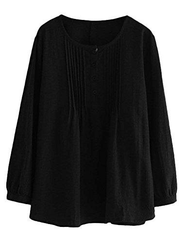 Plisse Mallimoda Blouses Col Shirt Noir T Rond Femme Chemisiers Chic Simple rTw0YqrH
