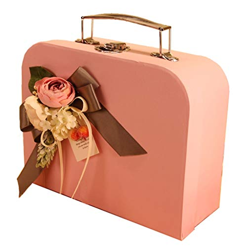 Exquisite Suitcase with Lock Buckle Pink Rectangular Large Gift Box for Birthday Party Anniversary (Size : L(37×25×9.5cm))]()