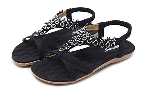 Bohemia Flop Flat Women Elastic Beads T Shoes Flip Sandals Strap Beach Summer Black Thong Glitter fwUxPwq