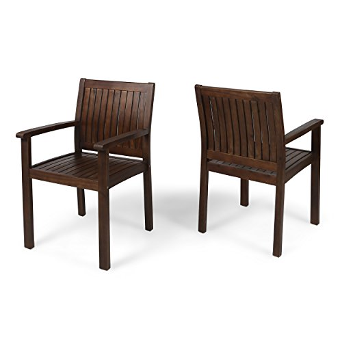 Great Deal Furniture Kylan Outdoor Acacia Wood Dining Chairs (Set of 2), Dark Brown Finish