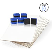 Dry Erase Lapboards - Quantity Whiteboard Pack with 10 Boards, 10 2 inch Felt Erasers - Without Markers - 10 Boards and Erasers