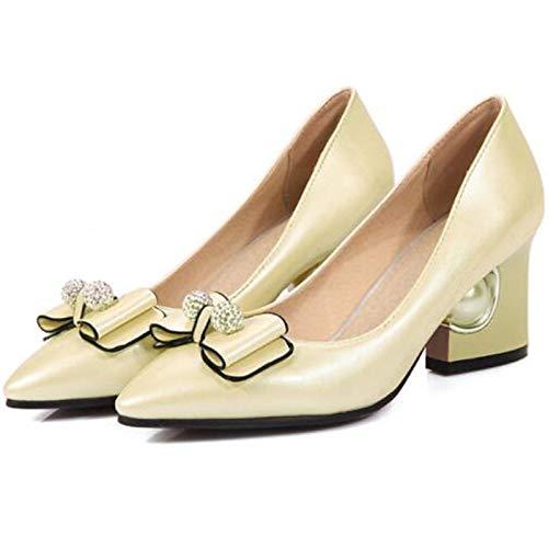 ZHZNVX Heel Beige Pink Summer Pointed Pump Red Polyurethane PU Shoes Block Women's Toe Spring Basic Beige Heels amp; 6pxP6r