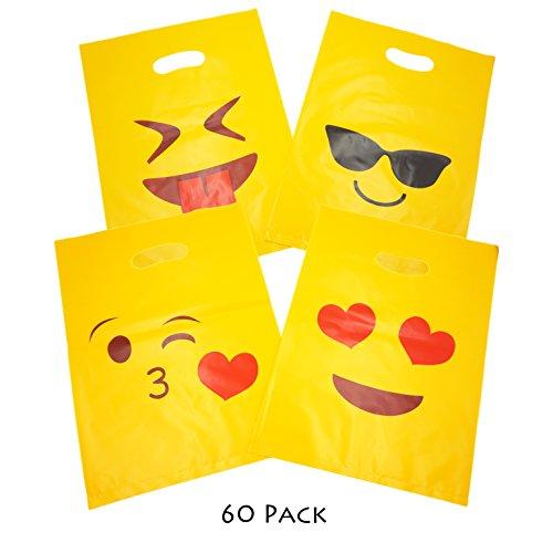 Popculta 60Pcs Glossy Merchanise Bags, Cute Emoji Shopping Bags Gift Party Favor Bags