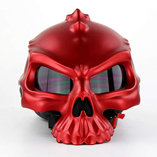 (HXYT Colorful steam Skull Motorcycle Helmet, D.O.T Safety Standard & Dual-use Half face Retro Classic Motorcycle Half Helmet (M, L, XL, XXL),XXL)