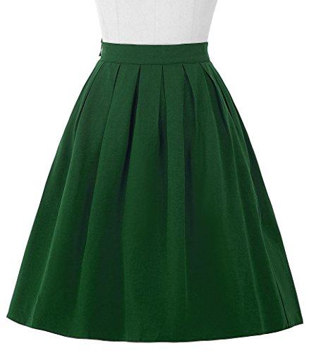 Belle Poque®Vintage Falda de Color Verde Negro Rojo Azul Liso Plisada para Mujeres Verde
