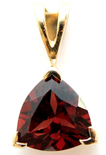 14K Solid Yellow Gold AAA Genuine Garnet Trillion cut Pendant