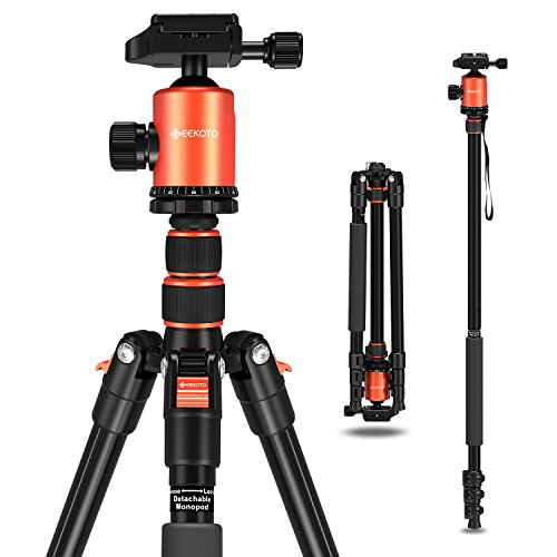 Geekoto Tripod, Camera Tripod for DSLR, Compact 77'' Aluminum Tripod with 360 Degree Ball Head and 8kgs Load for Travel and Work by Geekoto