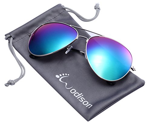 WODISON Vintage Reflective Mirror Lens Metal Frame Aviator Sunglasses Silver Frame Green Mix Blue - Aviator Women Sunglasses