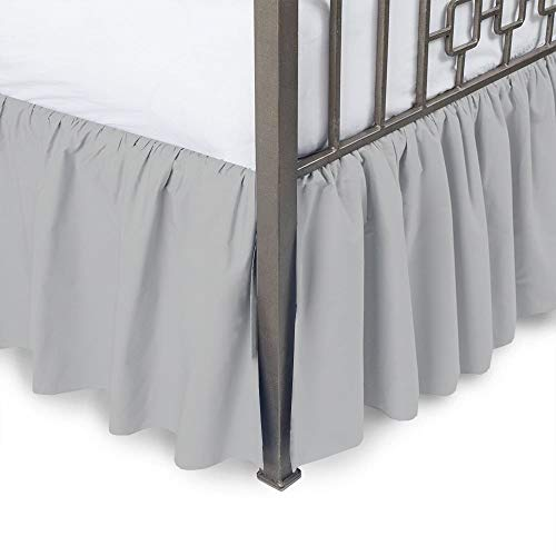 Ruffled Bed Skirt with Split Corners-Light Grey,Full BedSkirt,Gathered Style Easy fit up to 15 Inch Drop Platform Ruffle Bed Skirts.