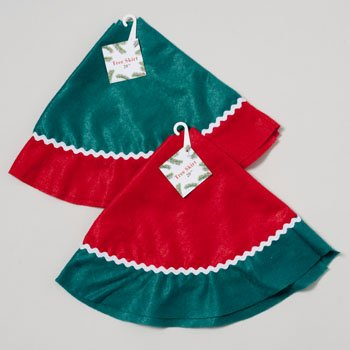 2 PACK-GOOD OLD VALUES GREEN & RED CHRISTMAS TREE SKIRTS 20'' NEW