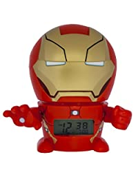 BulbBotz Marvel 2021432 Iron Man Kids Night Light Alarm Clock with Characterised Sound | red/gold | plastic | 5.5 inches tall | LCD display | boy girl | official