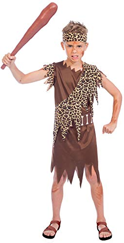 Boys Brown Prehistoric Caveman Caveboy Historical Book Day Carnival Halloween Fancy Dress Costume Outfit 4-12 Years (8-10 Years) ()