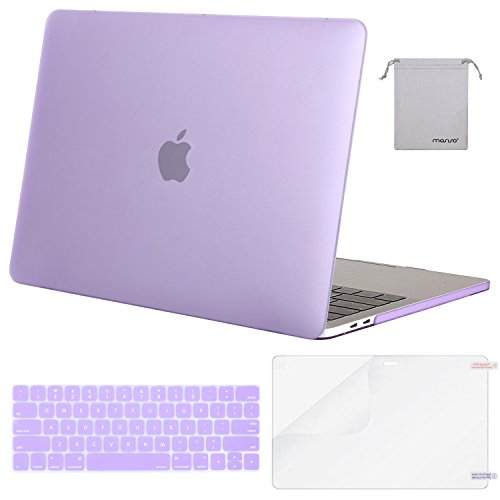 MOSISO MacBook Pro 15 Case 2018 2017 2016 Release A1990/A1707 Touch Bar Models, Plastic Hard Shell & Keyboard Cover & Screen Protector & Storage Bag Compatible Newest Mac Pro 15 Inch, Purple