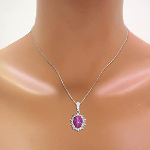 Diamond /& Star Ruby Pendant Necklace Set In Sterling Silver .925 with 18 Chain Princess Diana Inspired Halo Designer Style Princess Diana Inspired Halo Designer Style