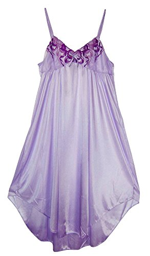 Women's Floral Lace Silky Nightgowns #9011 Purple XL