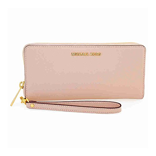 [MICHAEL KORS Jet Set Travel Leather Continental Wristlet in Soft Pink] (Pink Soft Leather)