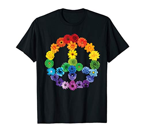 - Spring Flowers Peace Sign T-Shirt Daisies Roses Rainbow
