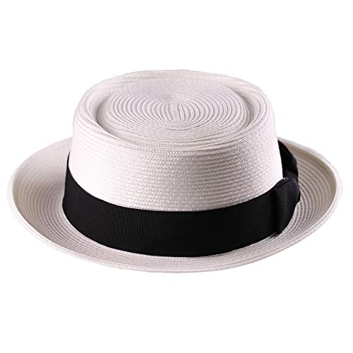 Pork Pie Straw Hat Men's Fedora Sun Hats Summer Porkpie Beach Flat Boater Cap with Upturn Brim (L:7 1/4-7 3/8, -
