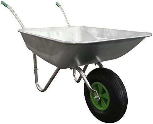 Carretilla jardín metálica rueda - Acero galvanizado - Capacidad 65 l / 100 kg: Amazon.es: Jardín
