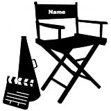 """Director Chair -Custom With YOUR Name Black VINYL Decal Art Wall Sticker Car USA 14"""" Movies Cool Fun"""