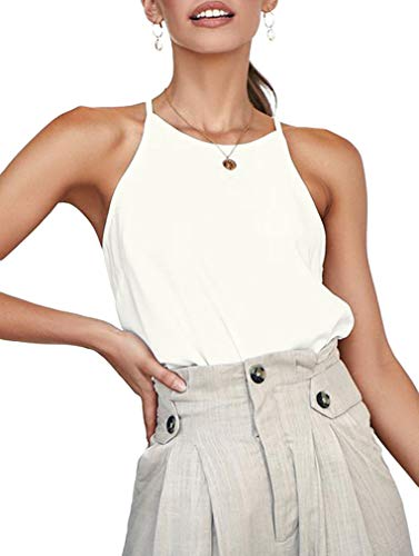 OYANUS Womens Shirts Sleeveless Summer Beach Halter Neck Tops Casual Basic Tee Shirts Loose Tunic Cami Tank Tops Blouses Off White M