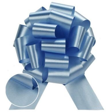 Light Baby Powder Blue Pull String Bows - 5.5 Inch Wide 20 Loops (1 and 7/8 Inch Ribbon) Set of 10
