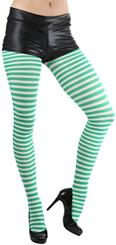 - ToBeInStyle Women's Striped Tights - Whi/Kellygreen