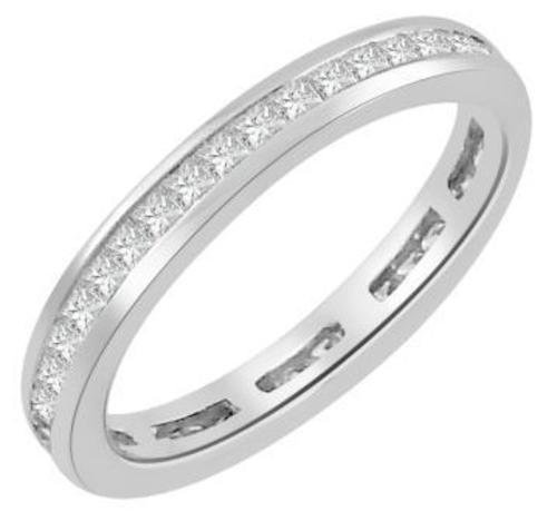 (1Ct Princess Cut Natural Diamond (H, SI2) Channel Set Wedding Band Ring)