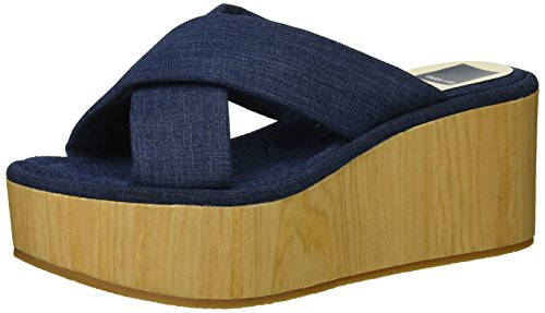 Dolce Vita Women's Vinita Wedge Sandal, Indigo Linen, 6 M US