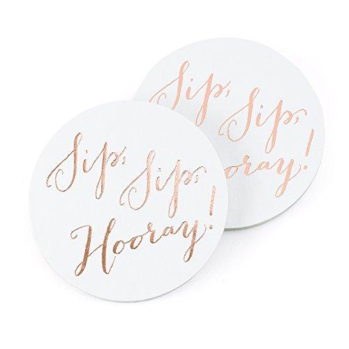 Hortense B. Hewitt 55594 Party Paperboard Coasters, 4-Inch, Sip, Hooray