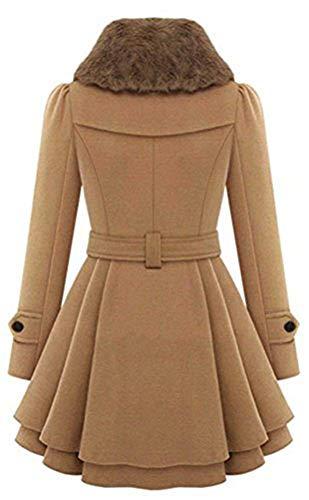 Giaccone Vintage Rot Slim Fit Grazioso Cappotto Lunga Trench Moda Invernali Classiche Breasted Double Eleganti Donna Outerwear Cintura Lana Inclusa Manica Addensare Caldo SW4F1