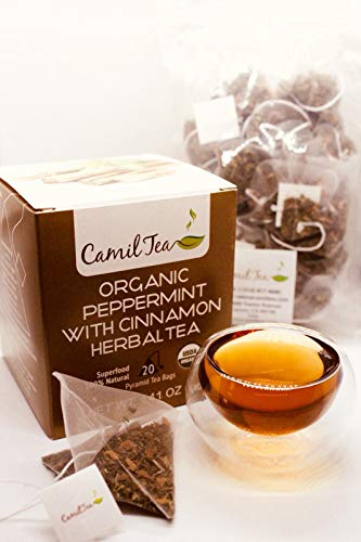 CamilTea 100% Organic Peppermint Cinnamon Herbal Tea - 20 Bags - 40g (2 gram Serving/cup)
