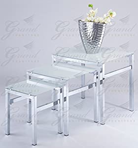 Elsa Frosted White Glass Nest Of Tables 3 Coffee Side Lamp Table Set Living Room Furniture